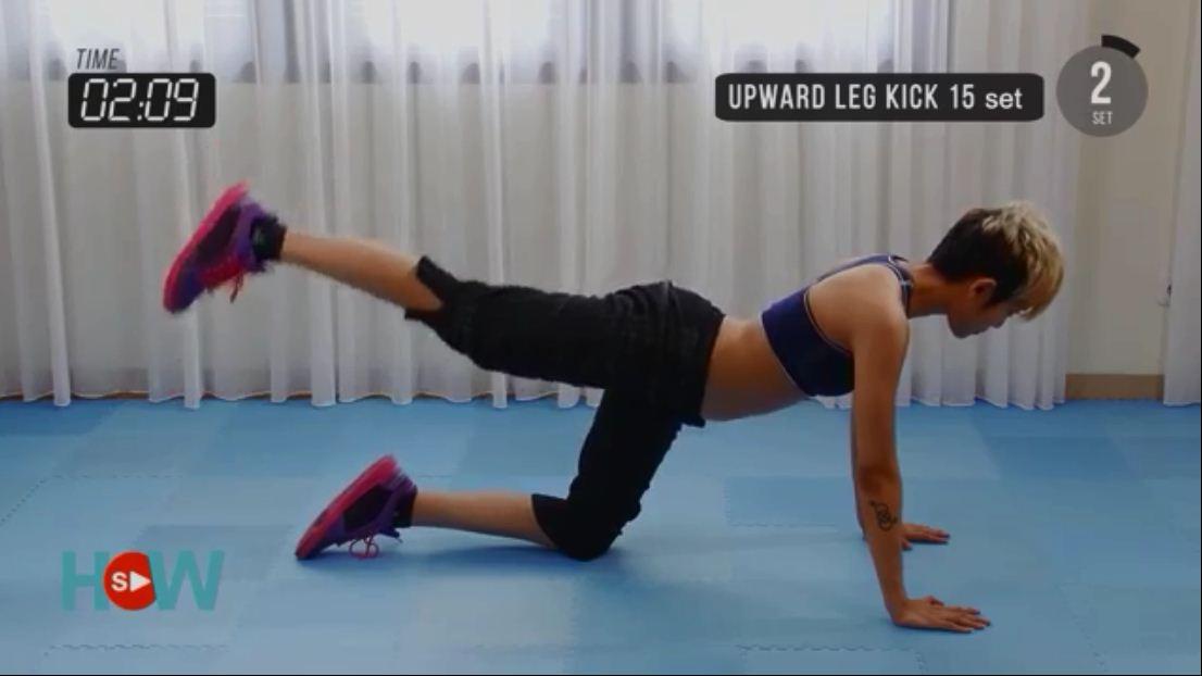 Gerakan Olahraga Mengecilkan Paha dan Betis dengan upward leg kick